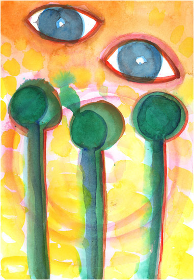 "Untitled, 2007, watercolor, 10 ¼"" x 7"""