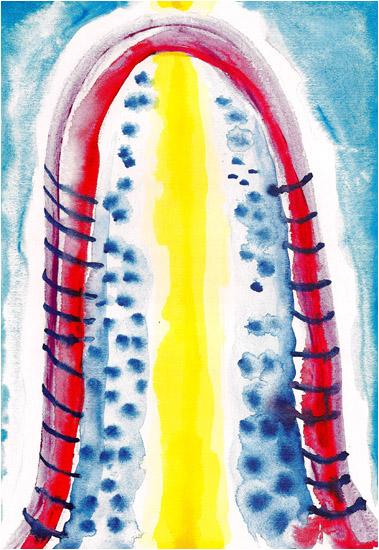 """Hildegard of Bingen, 2002, watercolor, 14"""" x 10 ¼"""""""
