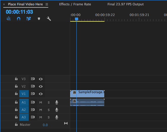 You can see the three nested sequences here. Place your footage in the first sequence. It gets processed through a series of effects in the second sequence. Then, find your final footage ready for export in the third sequence.