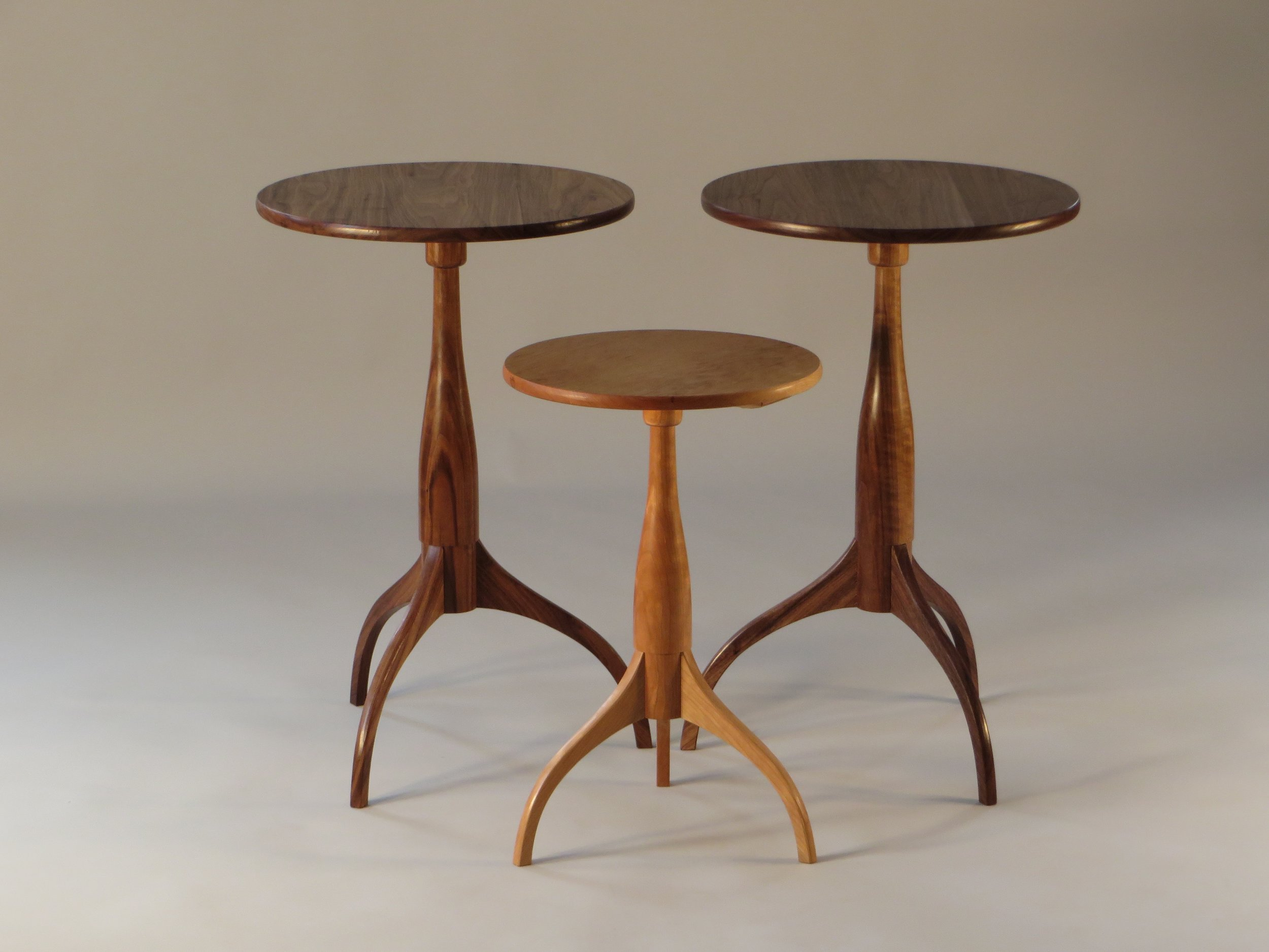 Small Shaker Tables, Walnut and Cherry.   Trio of the classic Shaker round stand: simple, elegant, functional.