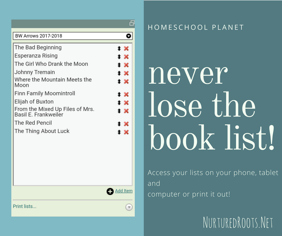 Online Homeschool Planner Book List