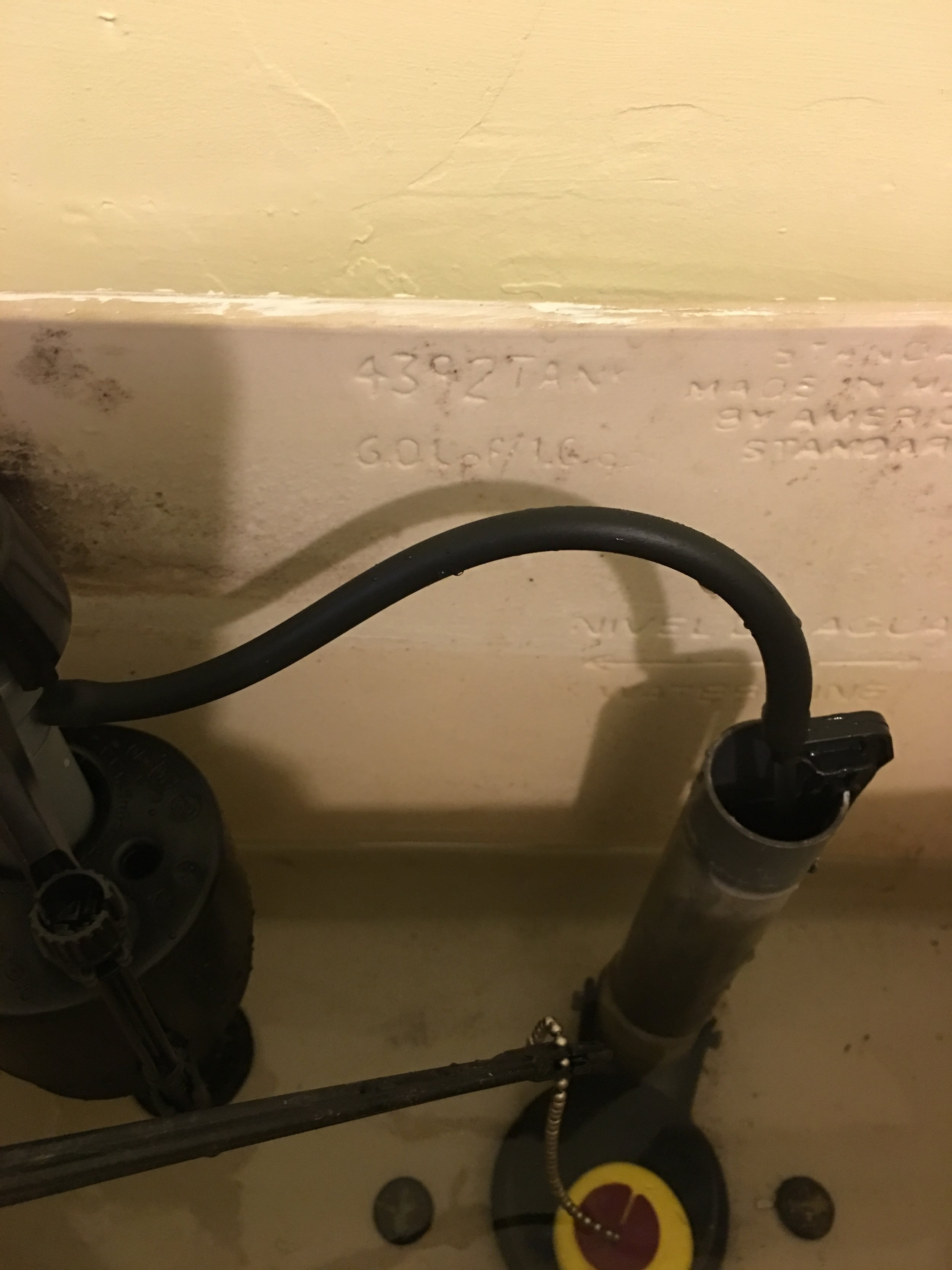 Like:  Do not shove refill tube down overflow pipe.  This may cause significant water waste.   There will be no shoving of anything down your pipes...