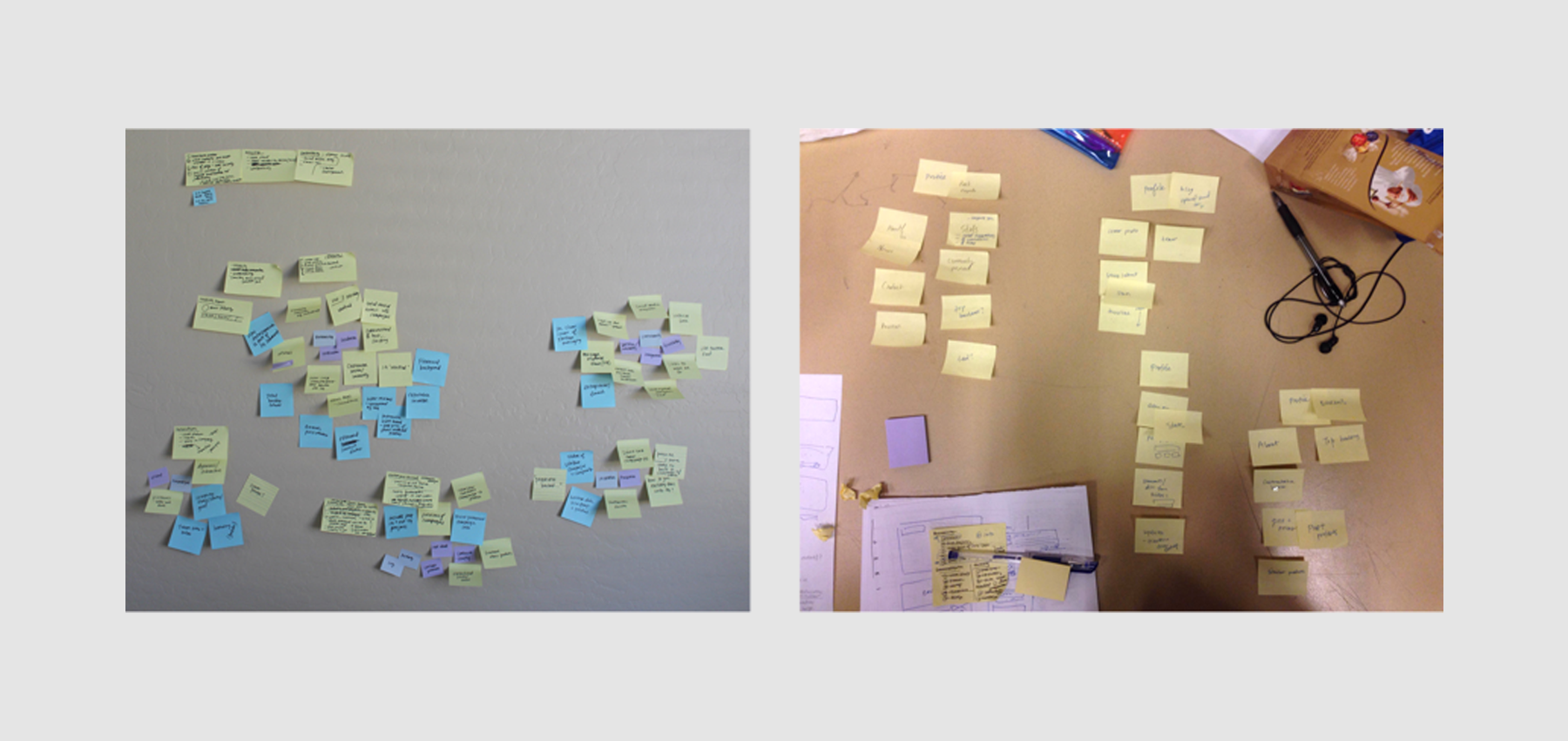 Affinity mapping our observations from user research