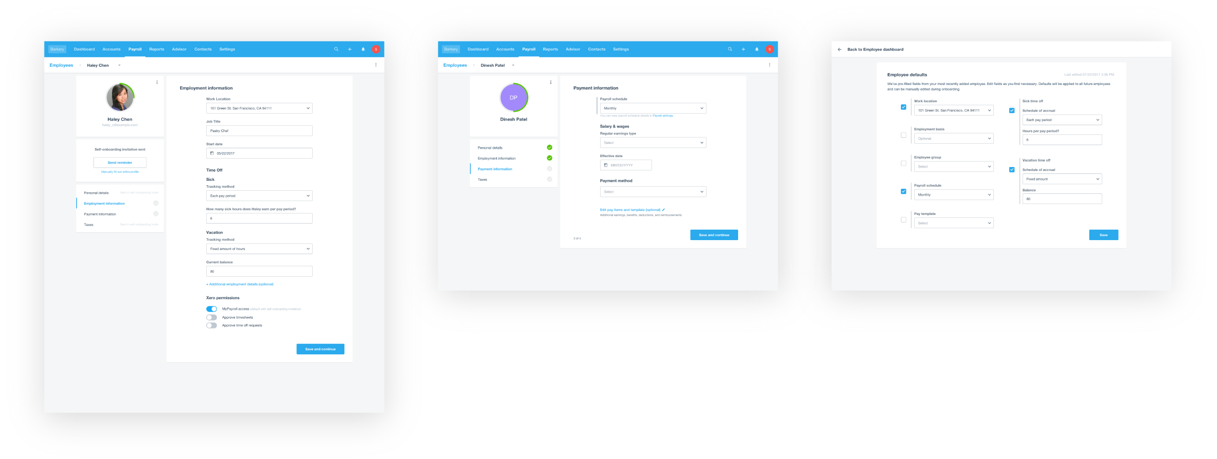 Key screens in employer test, left to right: (1) completed employment details (step 1 of 2 of onboarding), where many users thought they had completed all of onboarding; (2) employee with default applied, where few users picked up on the grey bar next to the defaulted field; (3) setting up employee defaults