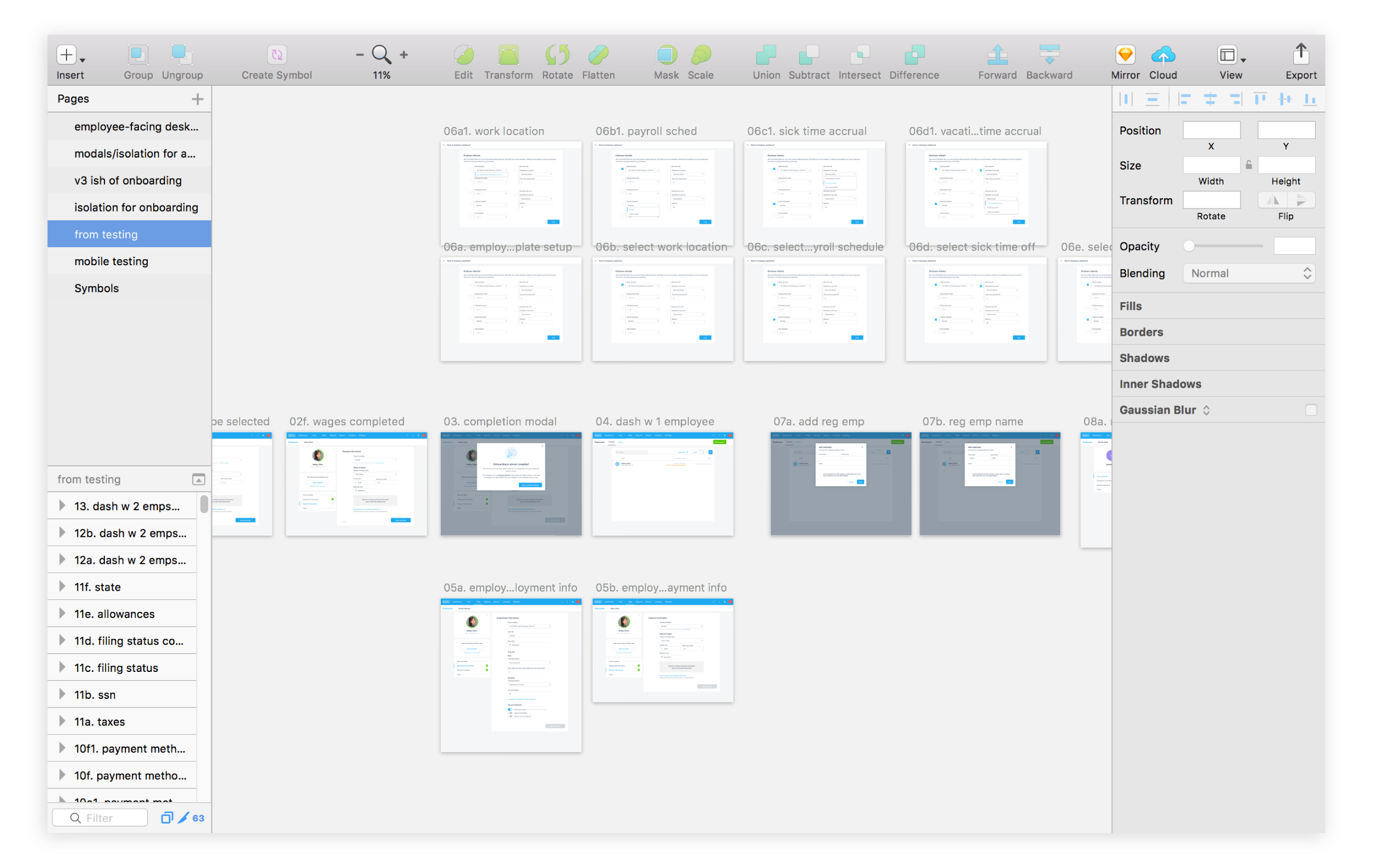 Screens from ideation