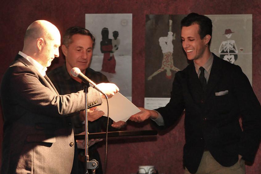Ben receiving award from GDC and Hemlock