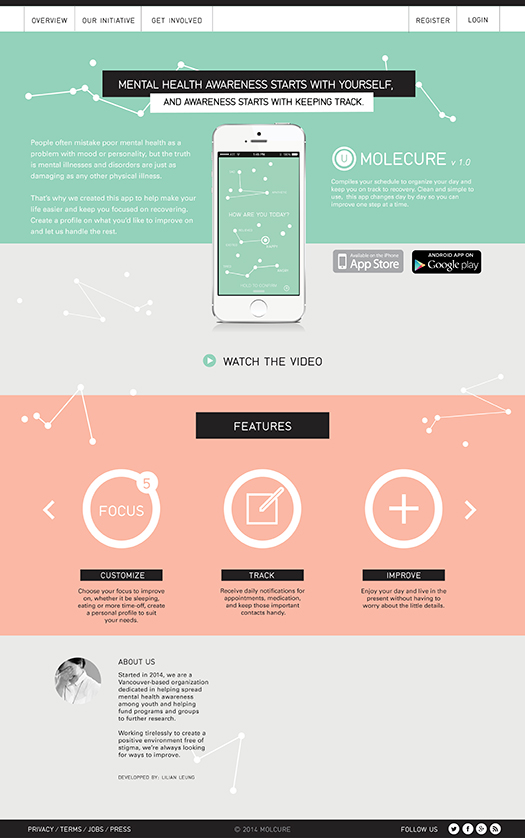 """Molecure,"" mobile app design by  Lillian Leung"