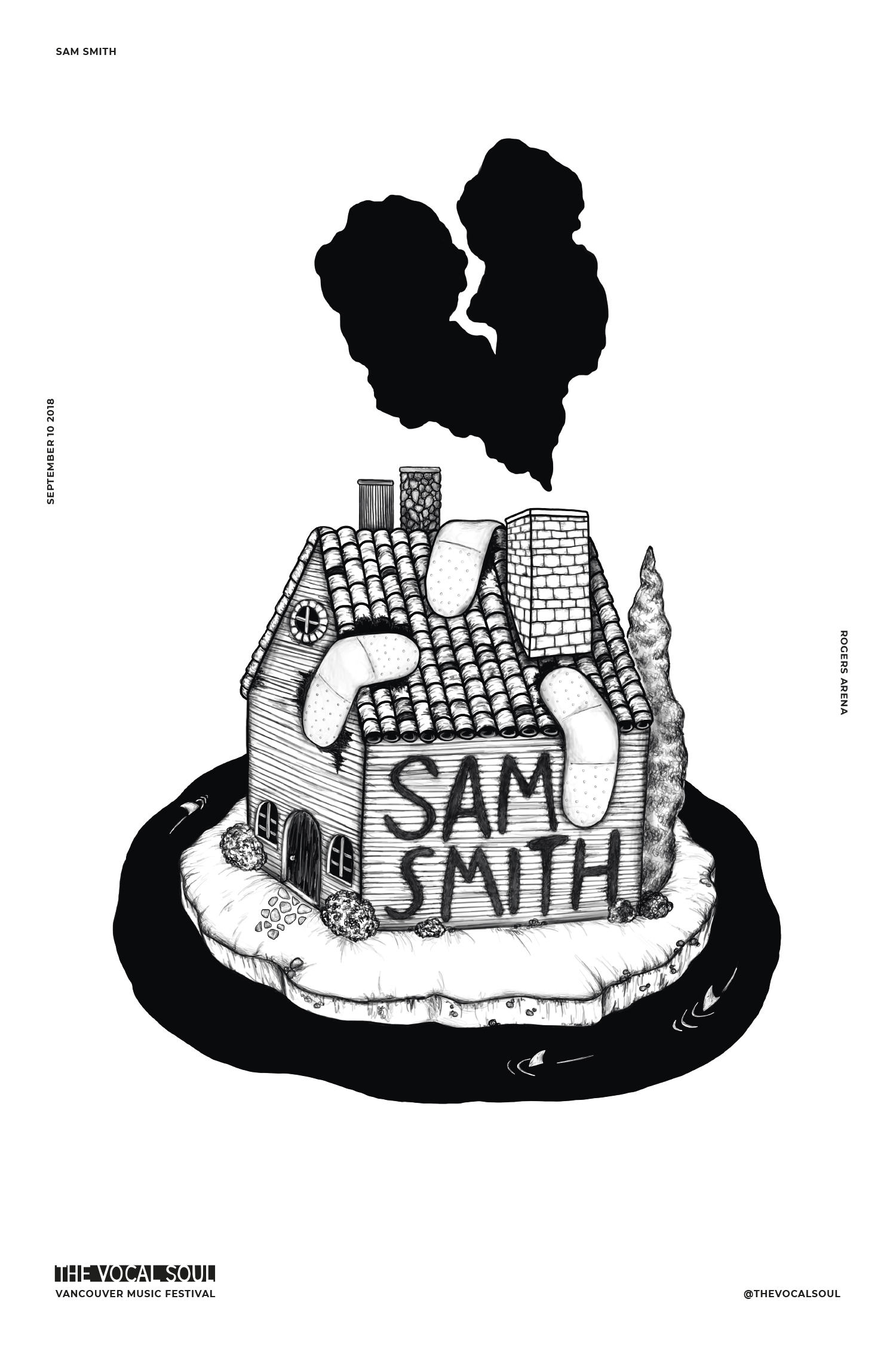 Sam Smith, The Vocal Soul, Vancouver Music Festival illustrated poster by Emily Rose