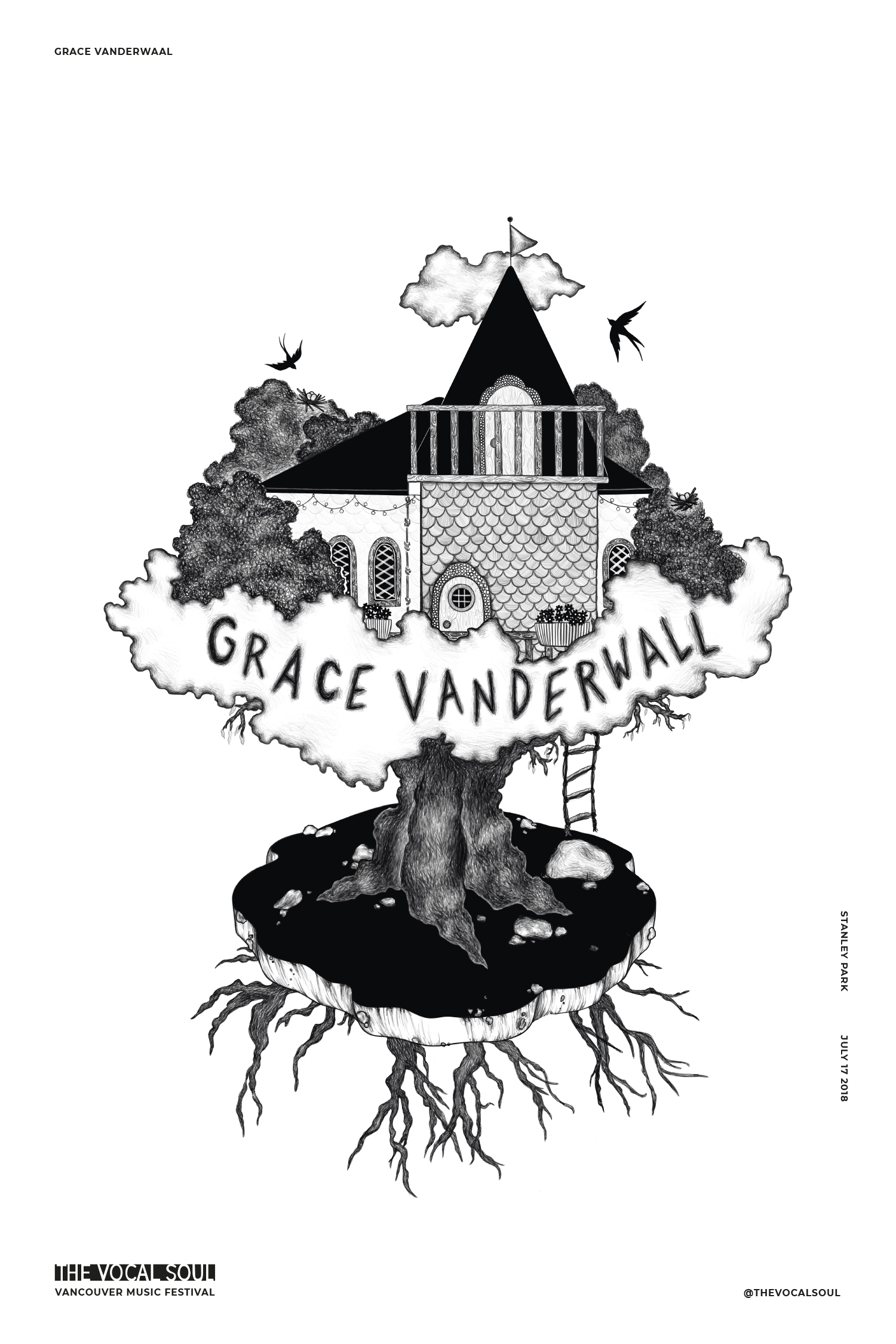 Grace Vanderwall, The Vocal Soul, Vancouver Music Festival illustrated poster by Emily Rose
