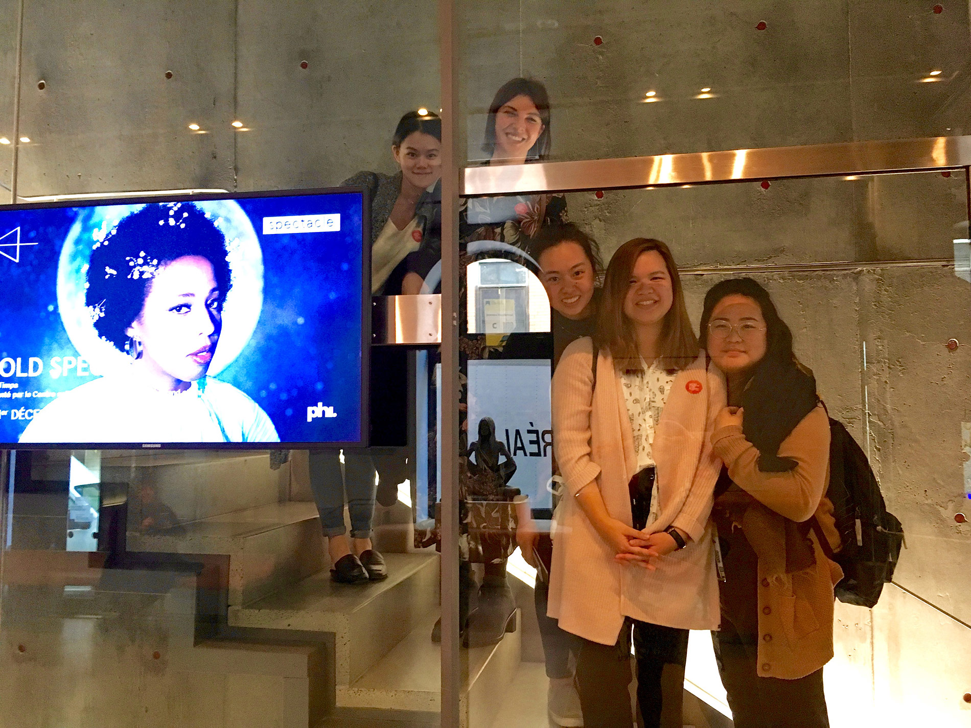 IDEA students  Lillian Zhang ,  Jominca Engelbrecht ,  Jessica Peng ,  Ashley Loo  and  Cynthia Vo  excited to lose themselves in the Lucid Realities exhibit at the  Phi Centre