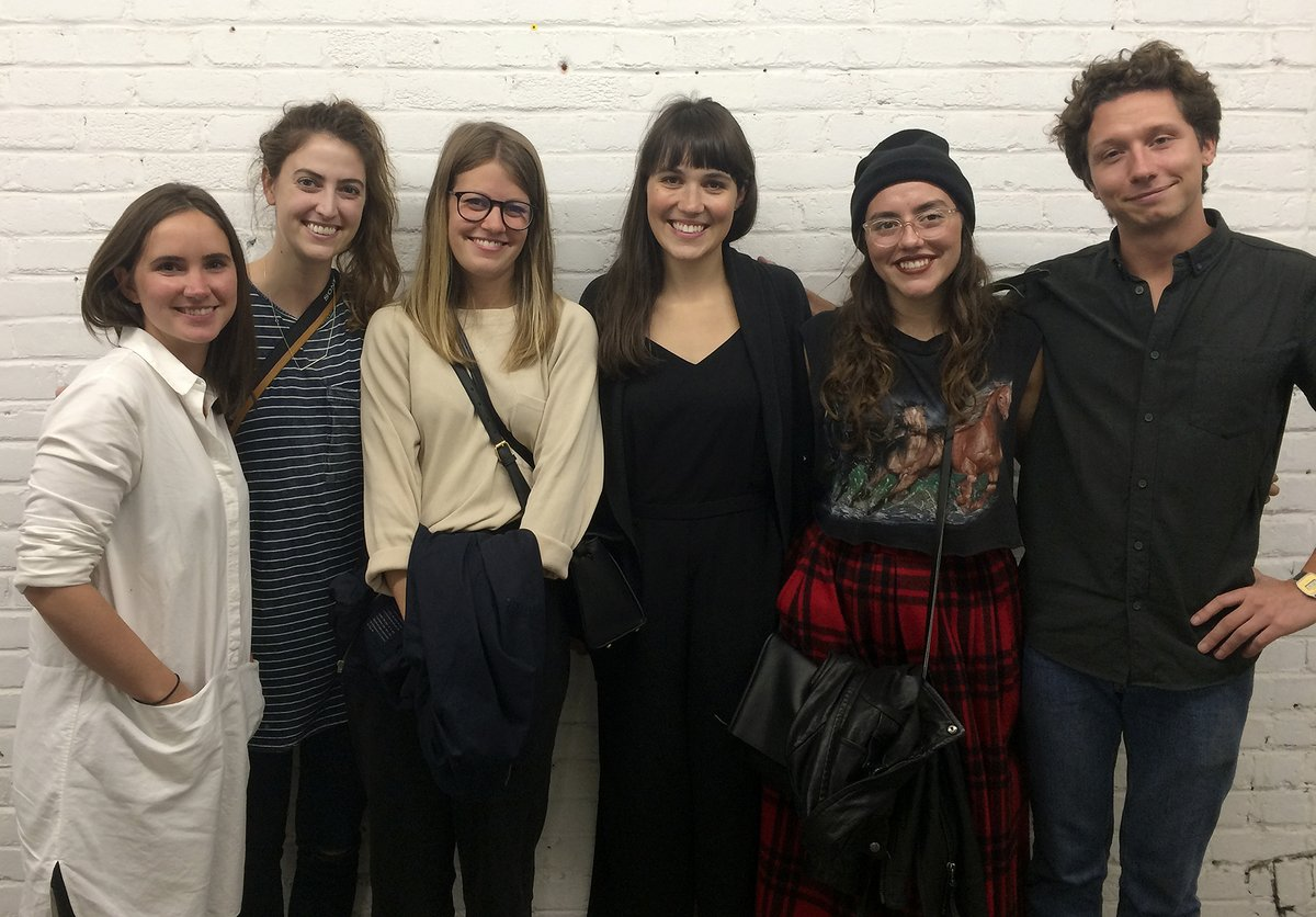 IDEA students Victoria Steinebach,  Rae Maher ,  Ashley Visvanathan  and  Sam Evans  visit previous IDEA grads Lexane Rousseau (left) and Eli Horn (right) at their Montreal studio  Fivethousand Fingers .