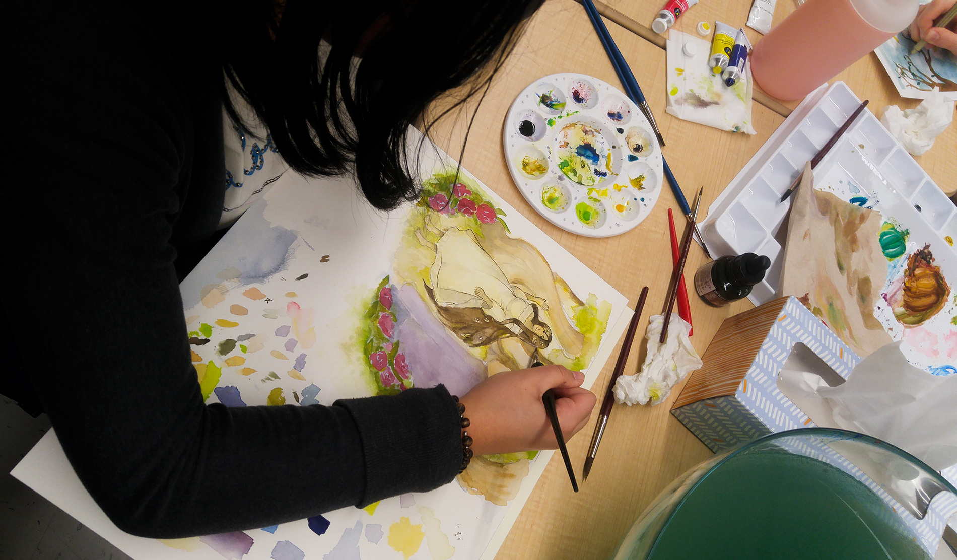 First year students working on a painting assignment (January 2018)