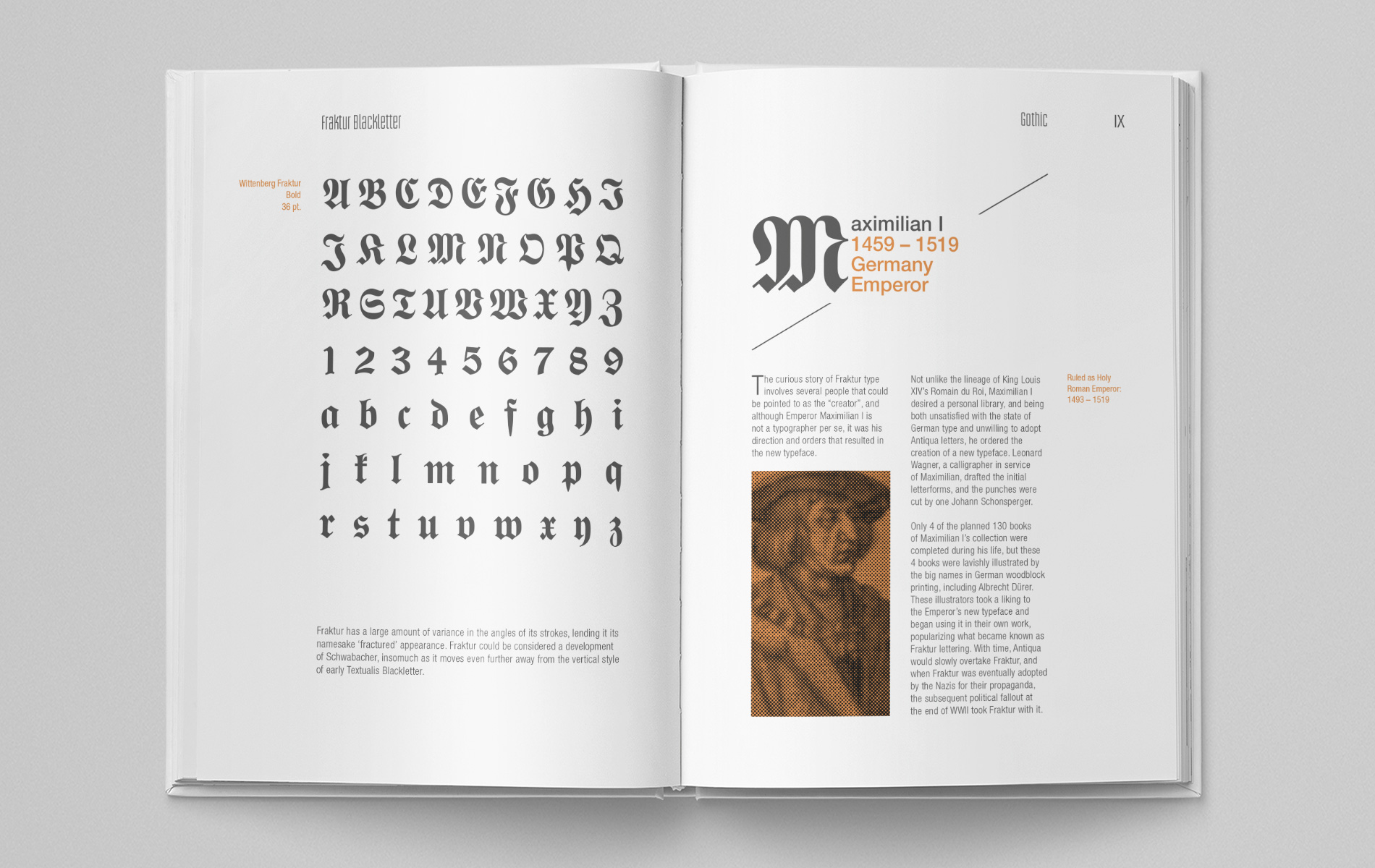 """Graeme Duckett  demonstrates the two variations of the definition """"Gothic"""" in his book; blackletter and sans serif."""