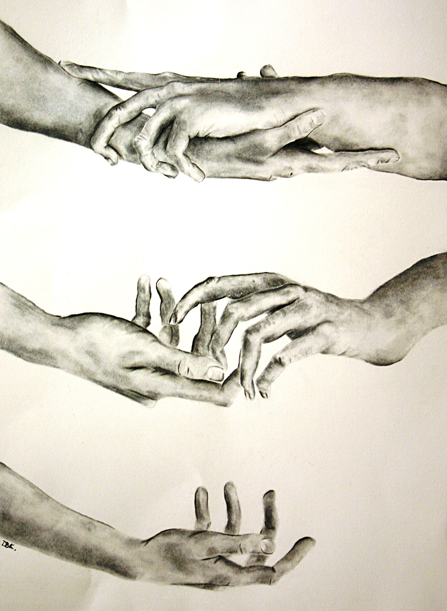 2nd year student Danica Koller submitted this illustration, Hands, as part of her student application portfolio.