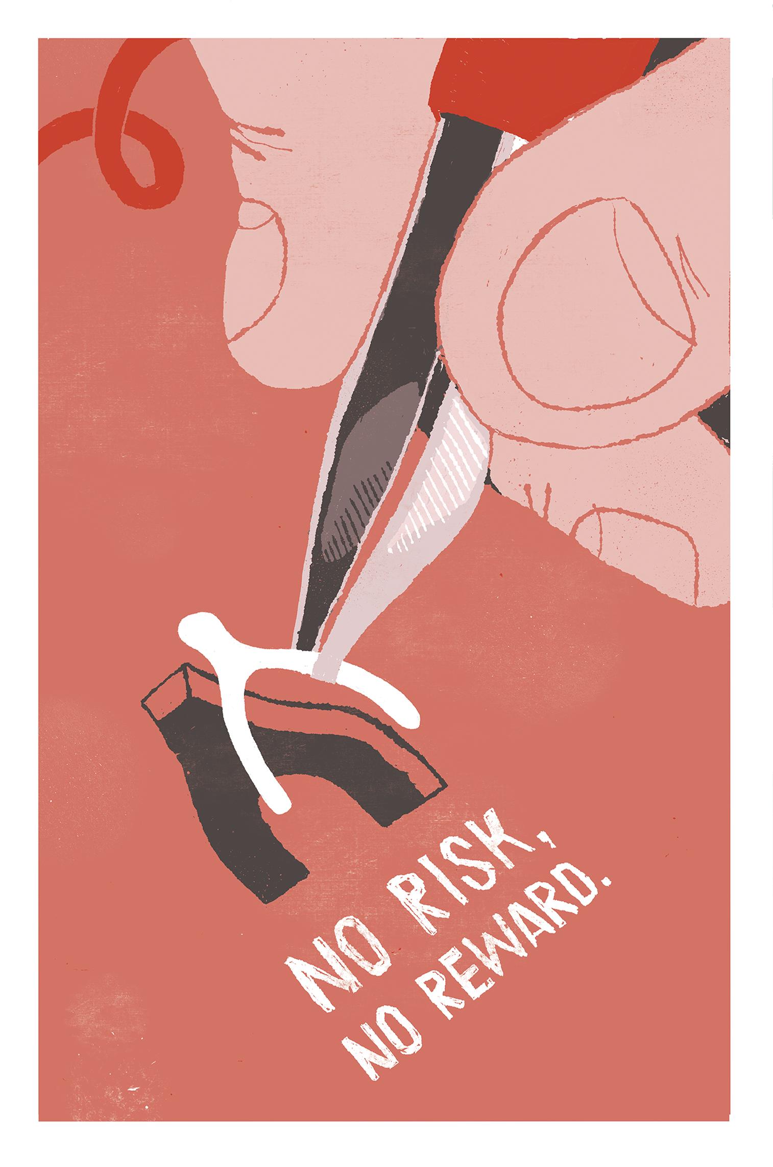 'No Risk, No Reward' poster by Nada Hayek