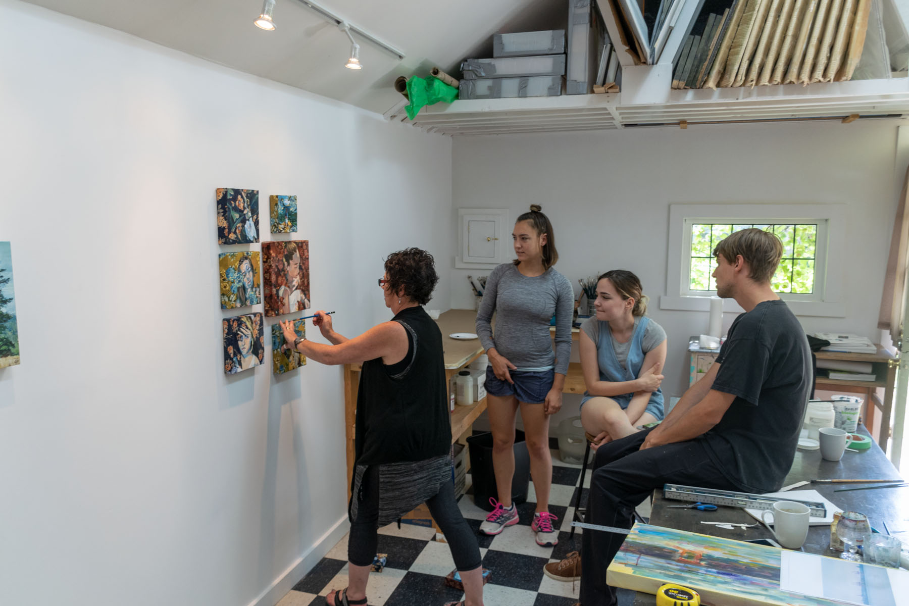 Hanging Heather's paintings