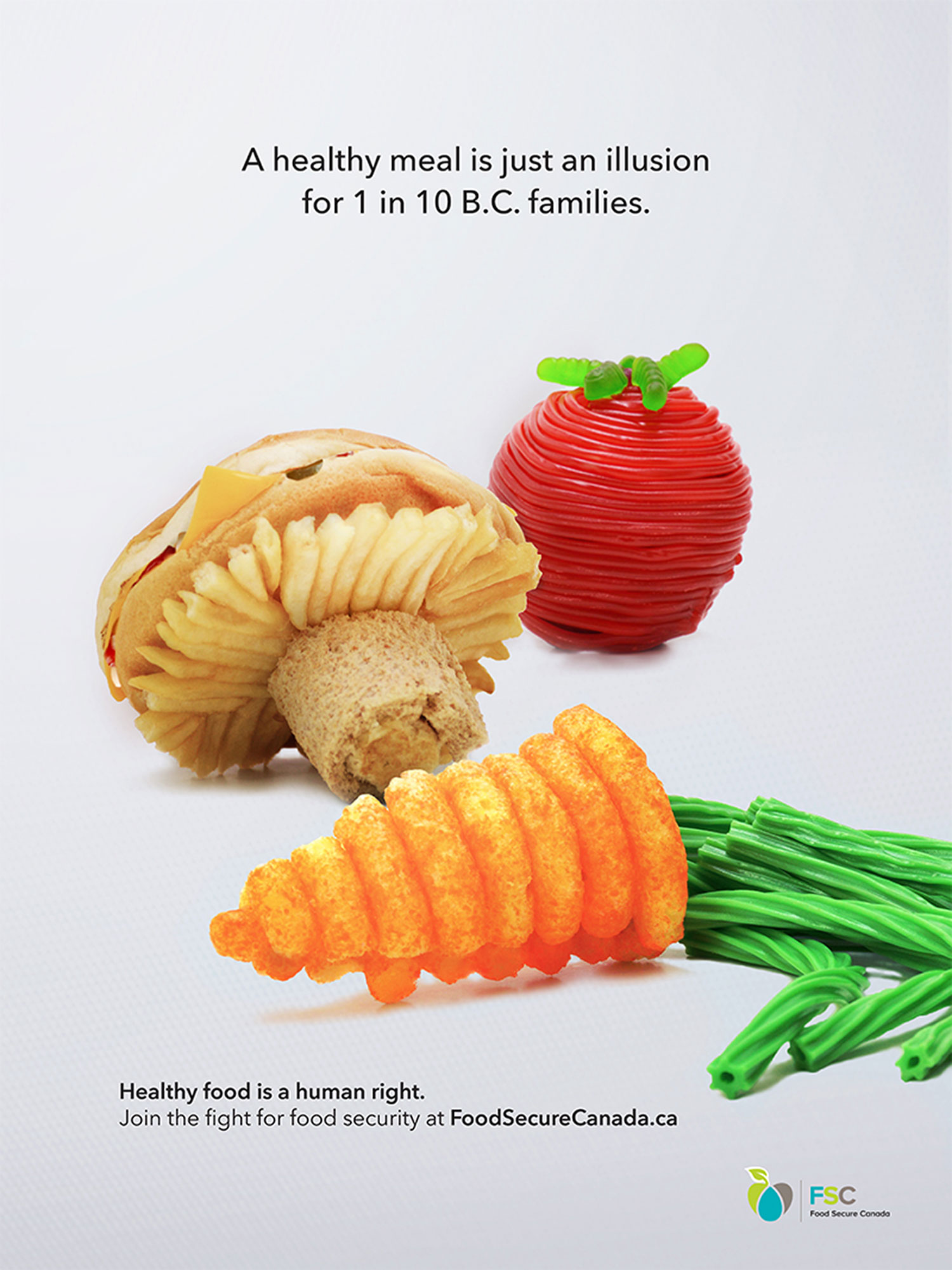 "For her world hunger campaign, Shay decided that she wanted to research what hunger looked like at home in Canada, and specifically British Columbia. In her research, she found that 1 in 10 B.C. families can't afford healthy food on a regular basis, and that this is called ""food insecurity"". Her print ad aims to bring awareness to this issue by showing the audience that for someone going through food insecurity, healthy food is elusive.  ""The idea came to me pretty fast,"" says Shay. It was one of her top five first ideas and she knew it was a good one. The process of constructing the food and photographing it took one afternoon! ""Overall, it was a super quick ideation and production of everything!"" she says."