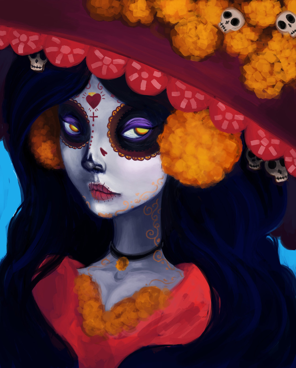 La Muerte (Saint Death) fanart Photoshop painting (2015) by Terea Cantu (IDEA20)