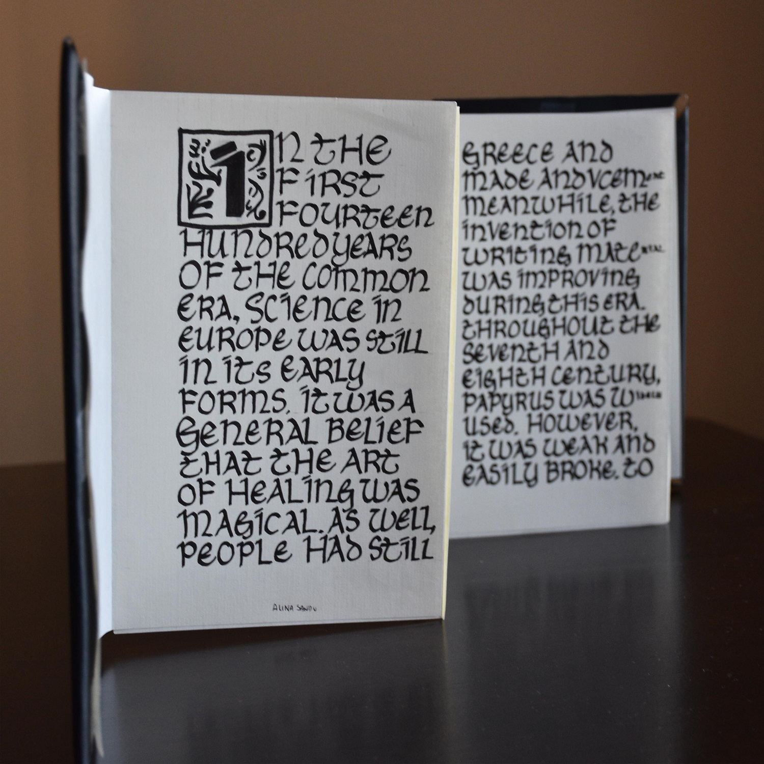 I had to create something that could be associated with the medieval time period and made an accordion book with time-appropriate calligraphy since it would be the time period that books or compact forms of writing would the biggest invention.