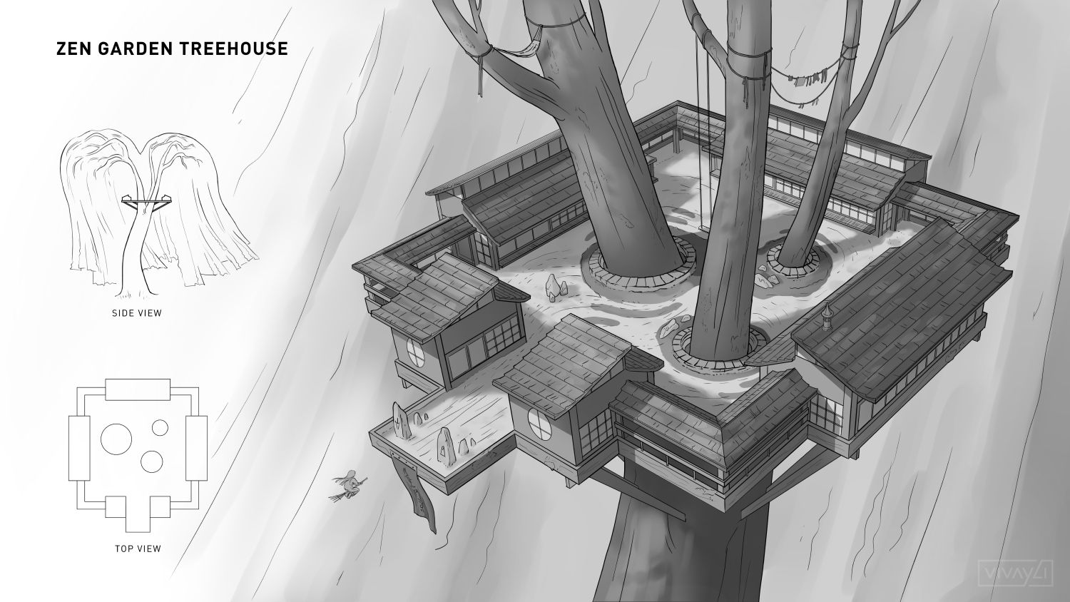 Zen garden treehouse environment design, done during my time at Vault 100