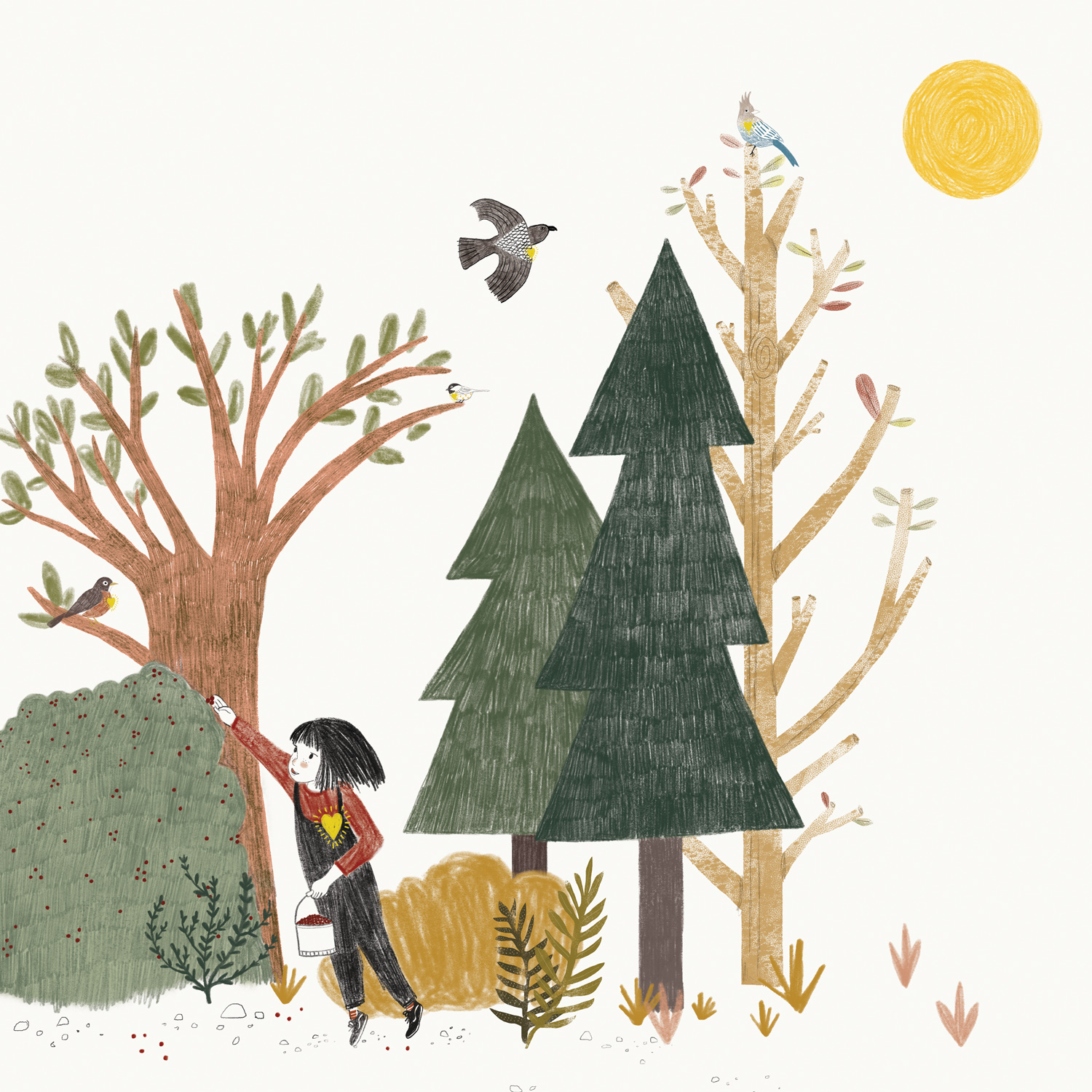 The Girl and Her Sun (Children's book)   This endearing picture book about a girl with a sun inside her heart teaches a simple but meaningful lesson: What you give to the world, you get back.