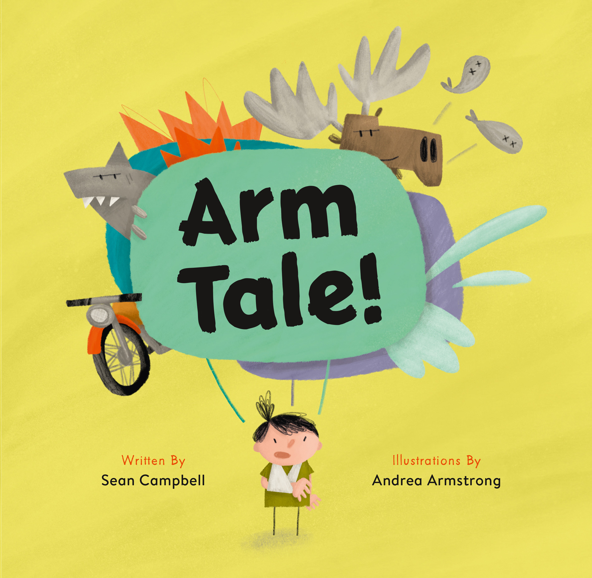 The recently published  Arm Tale  (Education Backpack, 2019) tells a story of a little girl who hurts her arm, and the outrageous story her friends invent to explain how.