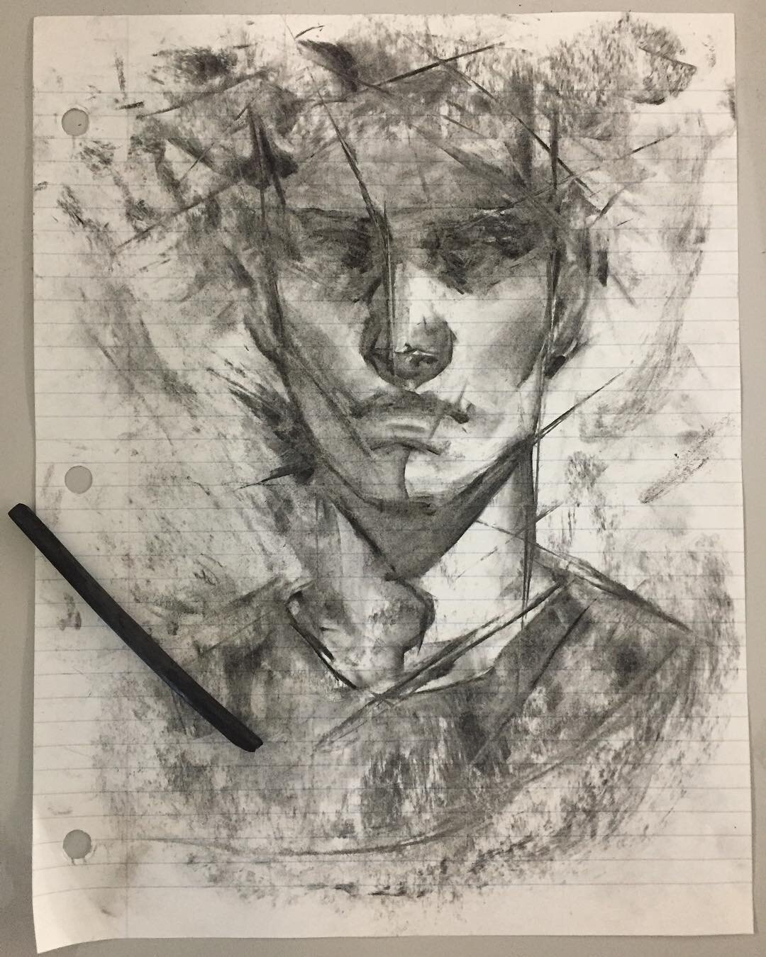 """Charcoal on lined paper"" by Tina Trinh (IDEA22)"