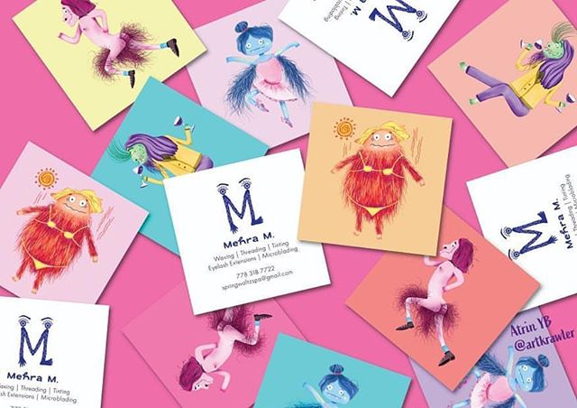 Check out these fun & quirky business cards @artkrawler made over this summer for her mother's spa/beauty services! We love all of the different characters she illustrated ✏️