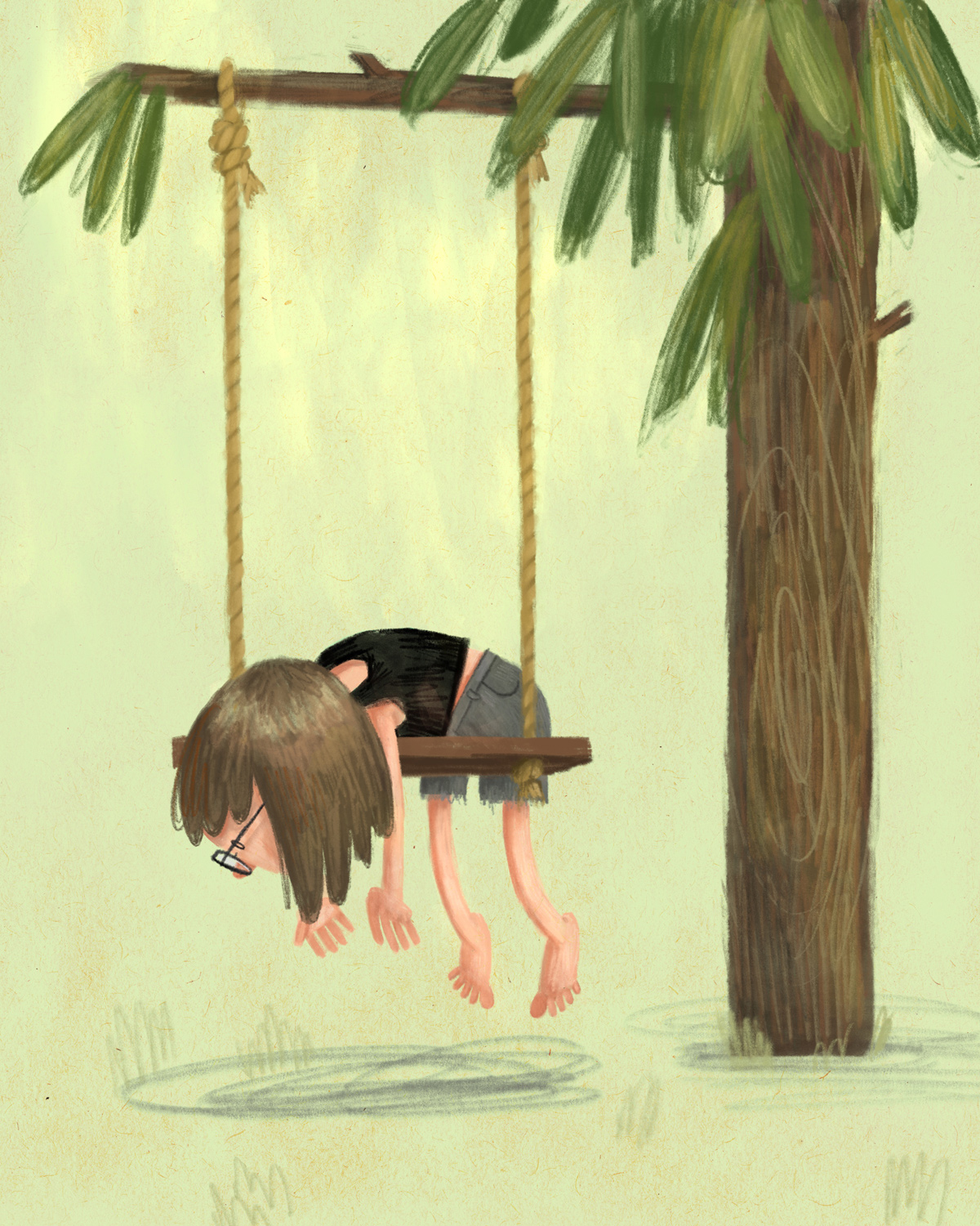 The Swing of Things  is part of an illustration series about finding creative rhythm, and what it feels like when one is in a creative slump.