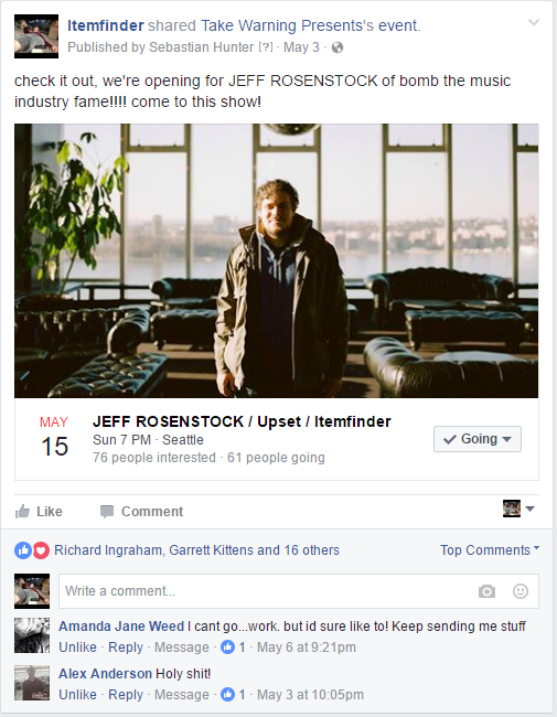 Sebastian's excited post announcing our show with Jeff Rosenstock