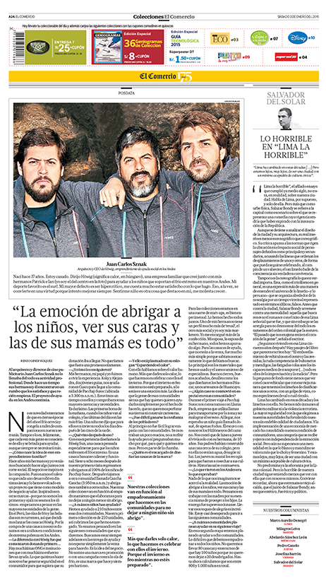 "Peru's newspaper  ""El Comercio""  article dated January 3rd, 2015"