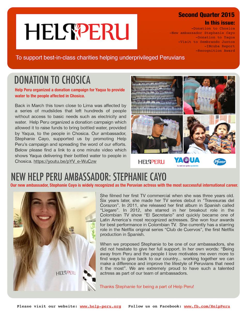 Help Peru Bulletin 2Q 2015