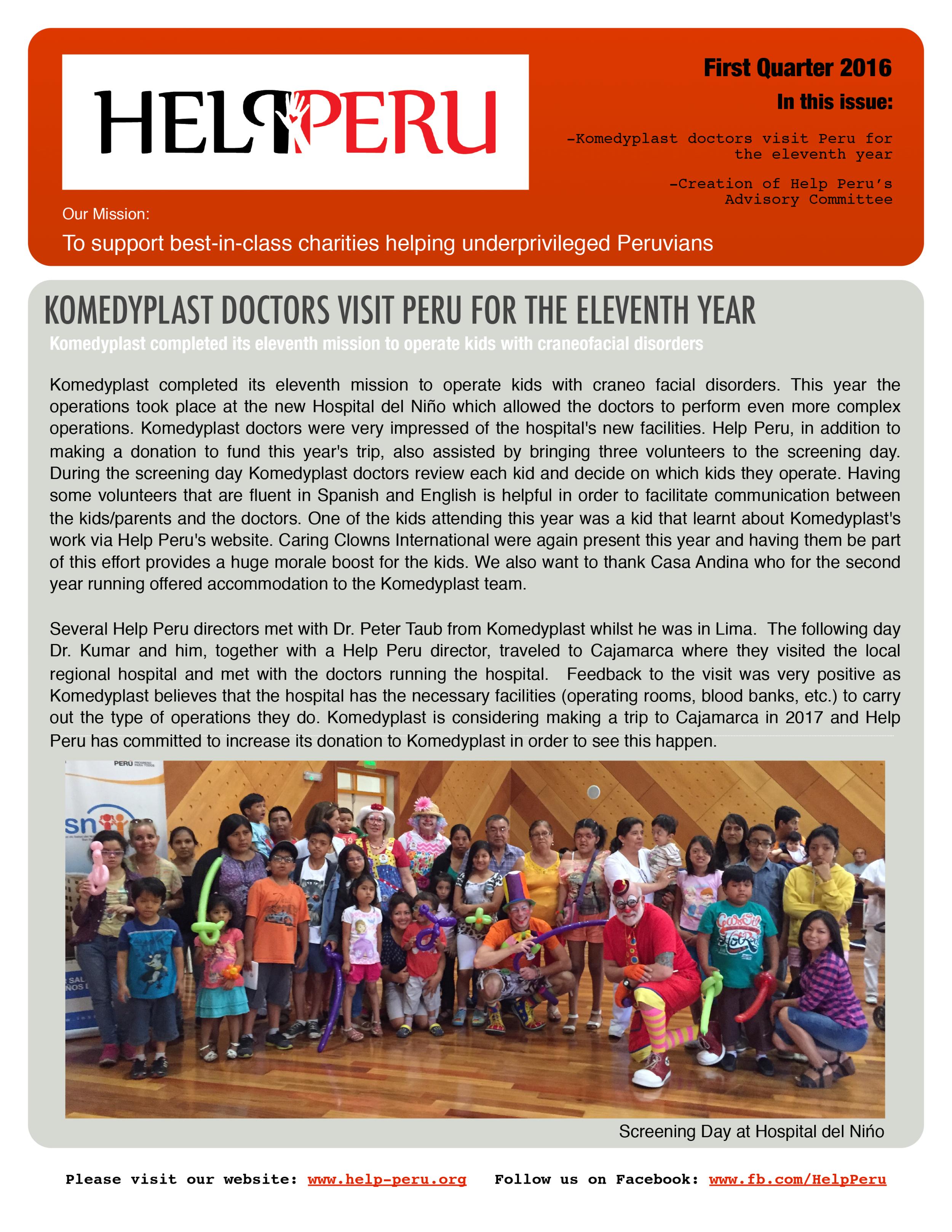 Help Peru Bulletin 1Q 2016