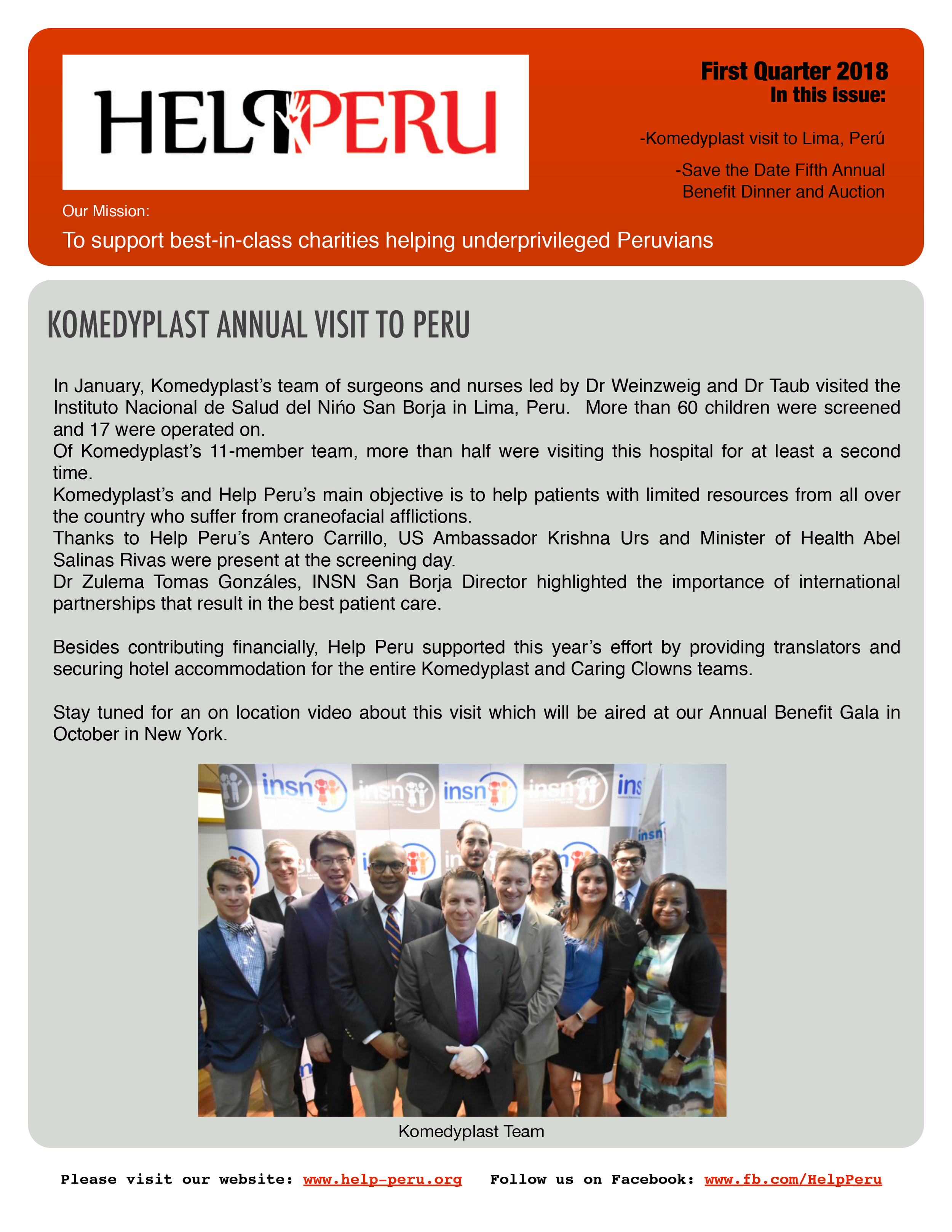 Help Peru Bulletin 1Q 2018