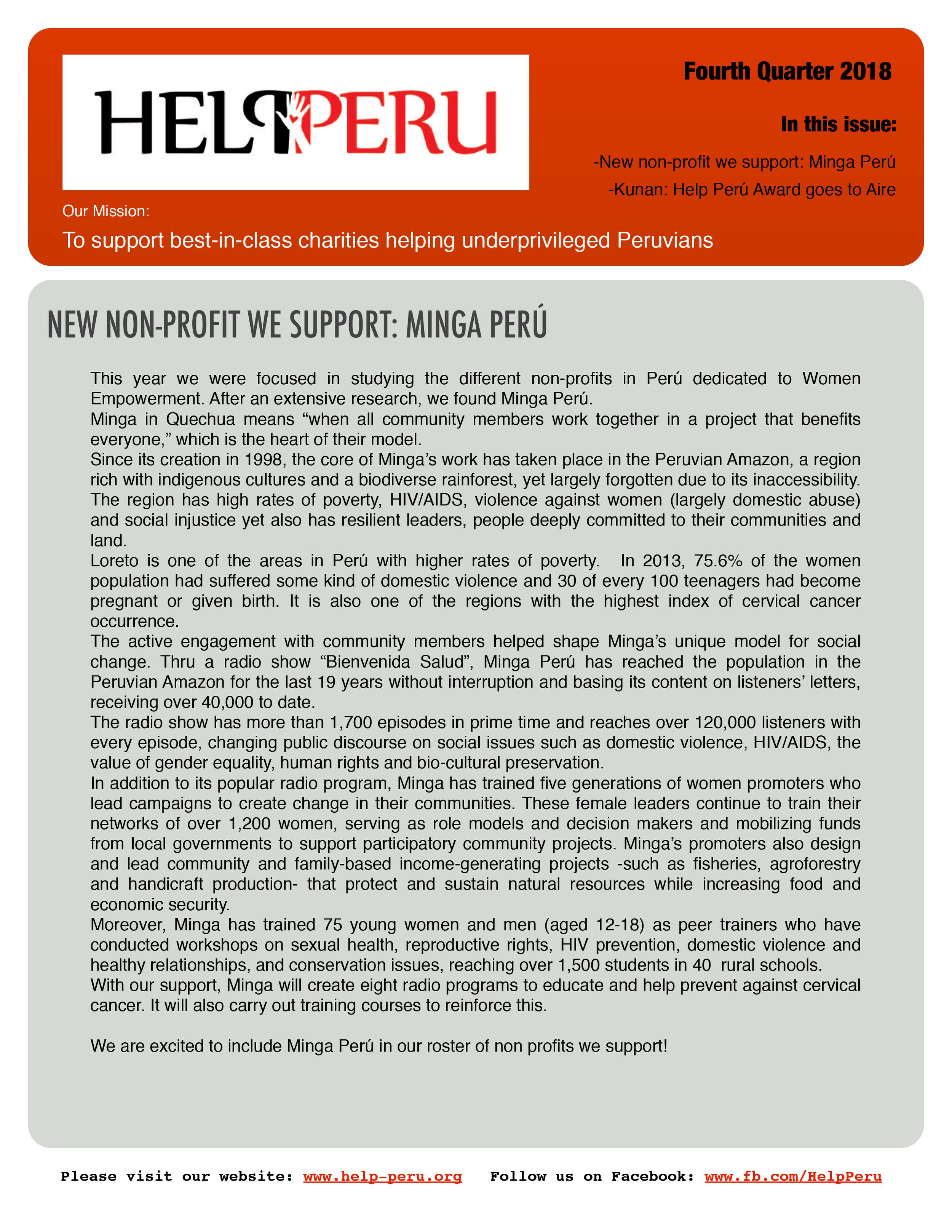 Help Peru Bulletin 4Q 2018