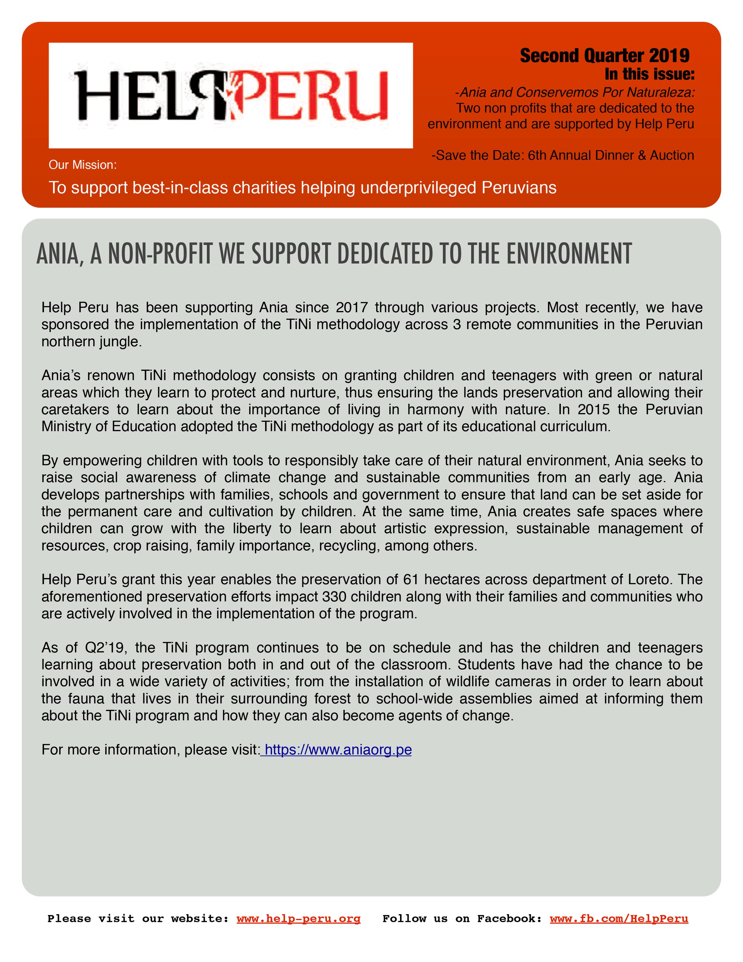 Help Peru Bulletin 2Q 2019