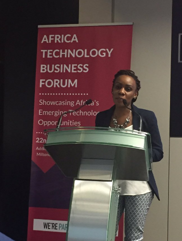 Africa Technology Business Forum founder Eunice Ball speaks at the African Tech Forum London in June 2016