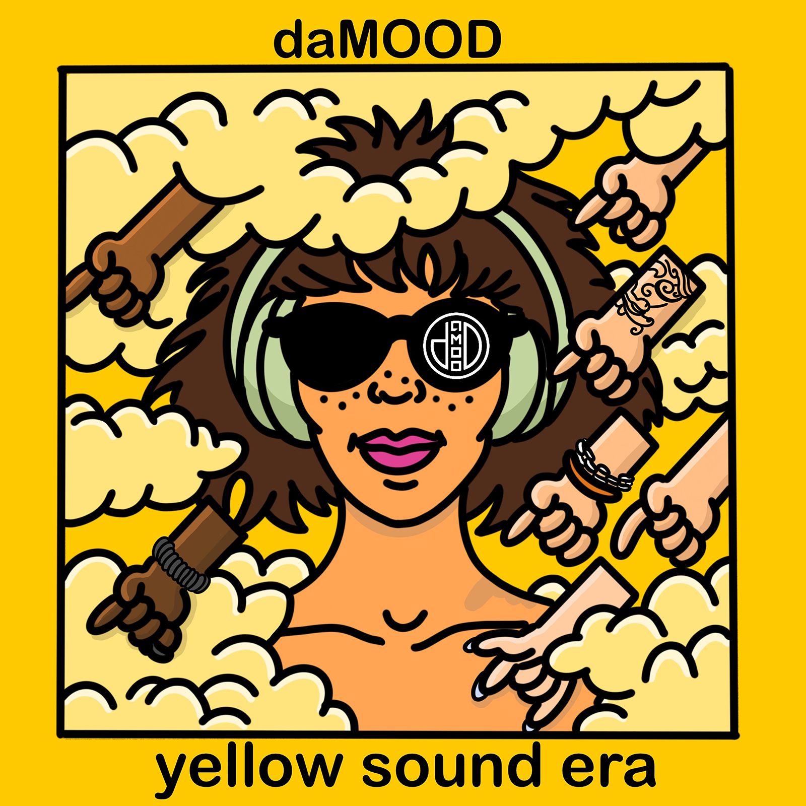 "Cover art for daMOOD's 2019 album ""yellow sound era"""