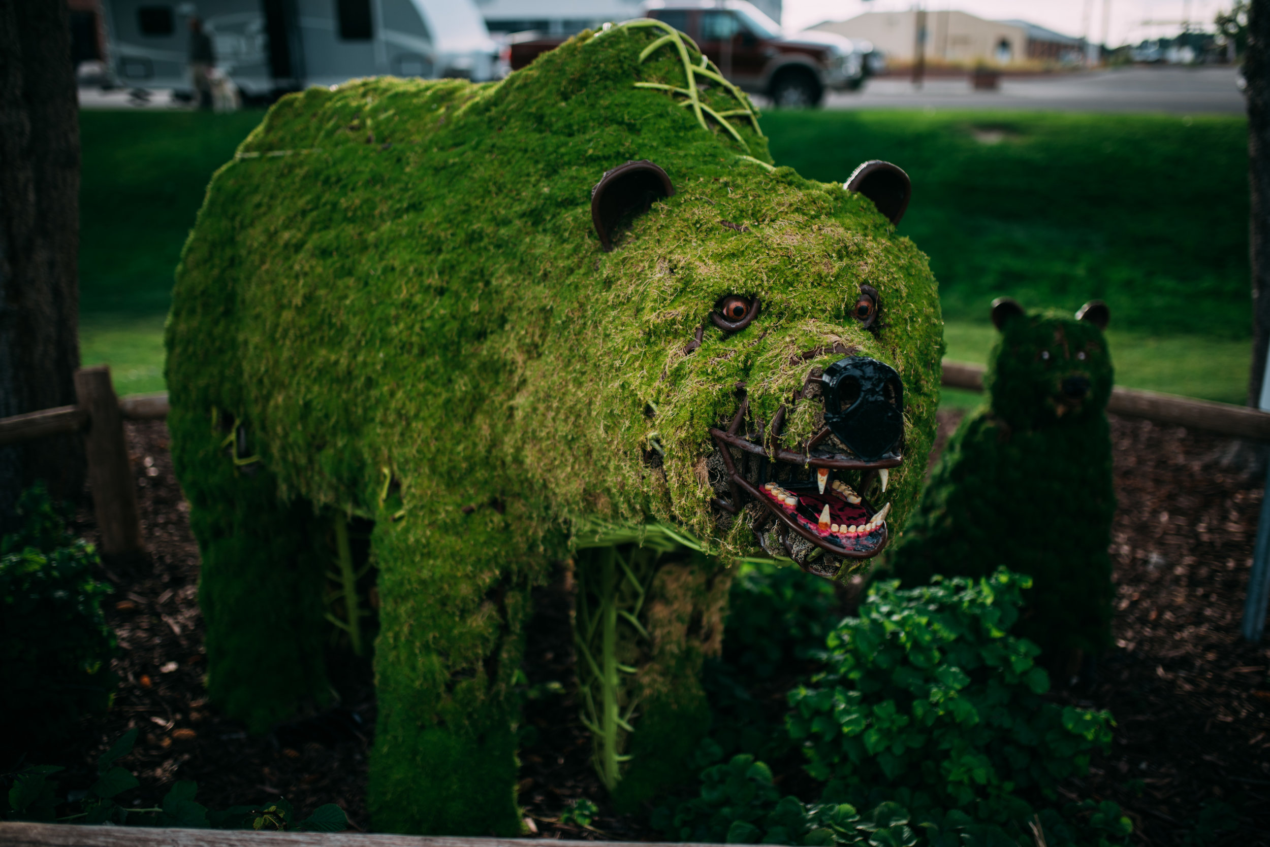 The city has multiple animal sculptures completed by a mossy green outer skin. Really neat!