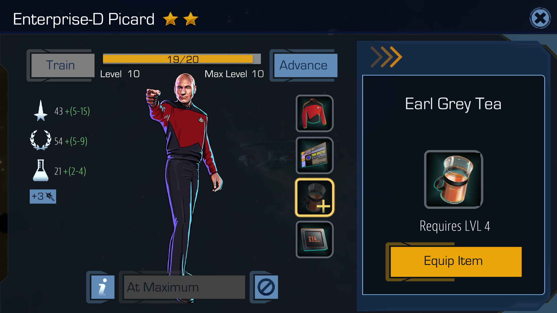 "Ah, delicious Earl Grey. The ""Advance"" button is now gold, and on the right we see Picard's portrait also has a gold circle ""!"" notification."