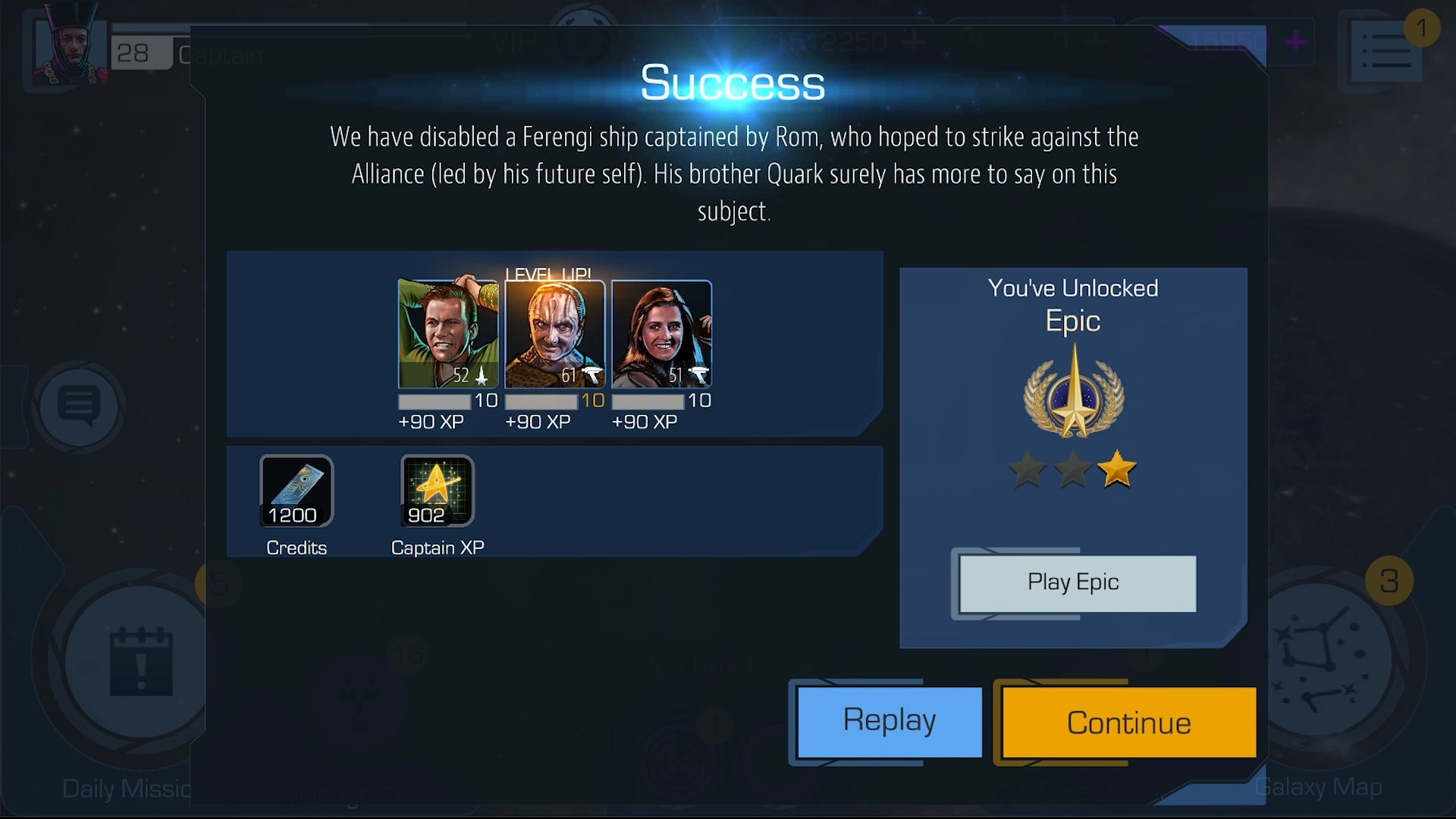 Thanks to a successful Ship Battle, Kirk, Garak, and Vash all hit level 10. Now they're ready for new equipment.