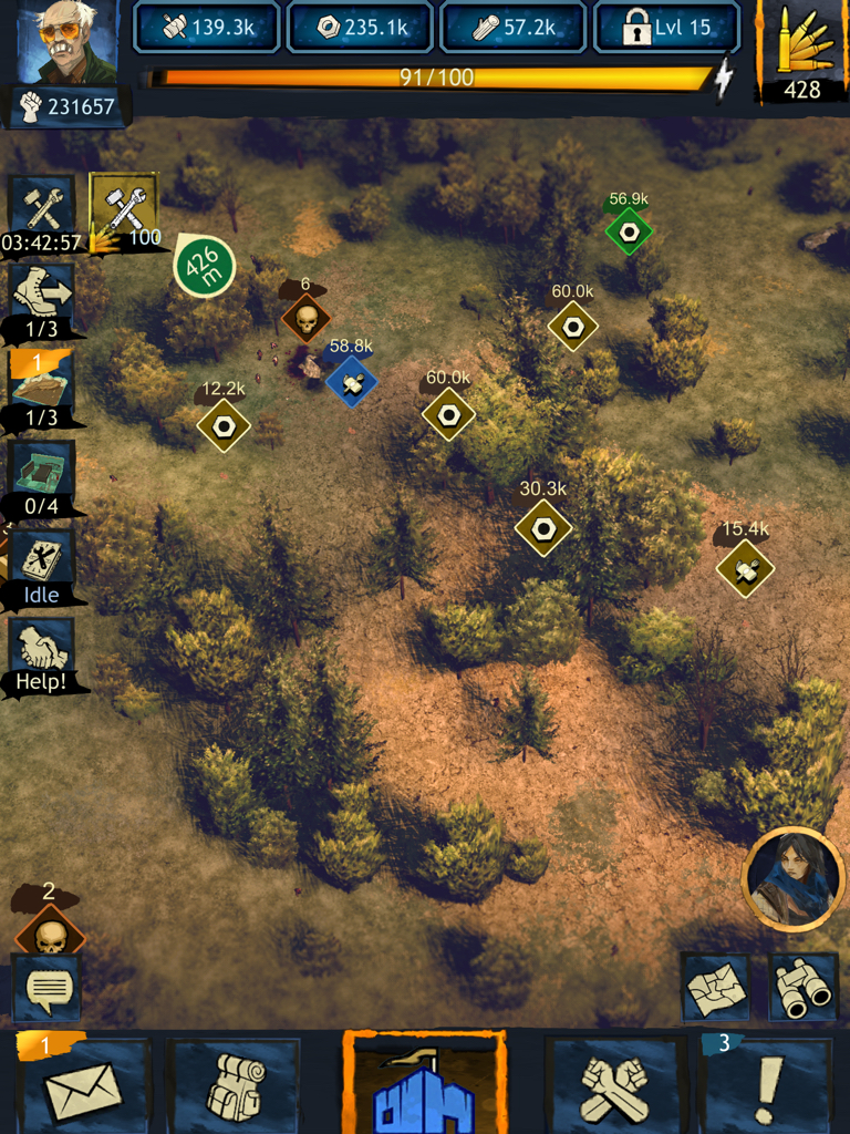 Several unclaimed Resource Nodes surround the green player-occupied Node and blue Community member-occupied Node. A Level 6 Clear Zombies mission is just above the blue Resource Node.