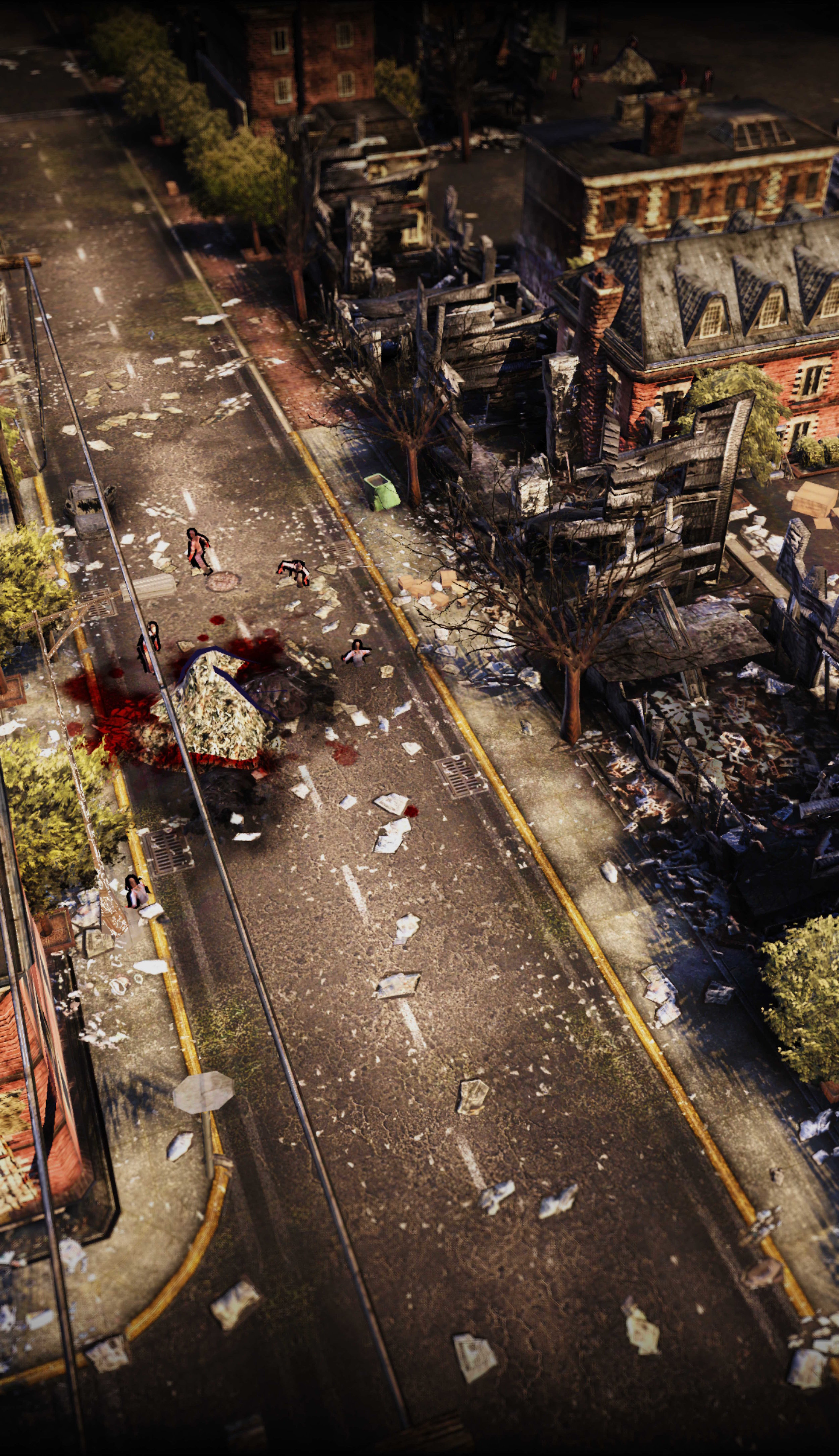 A walker shuffles up a city street on a detail view of the Map.