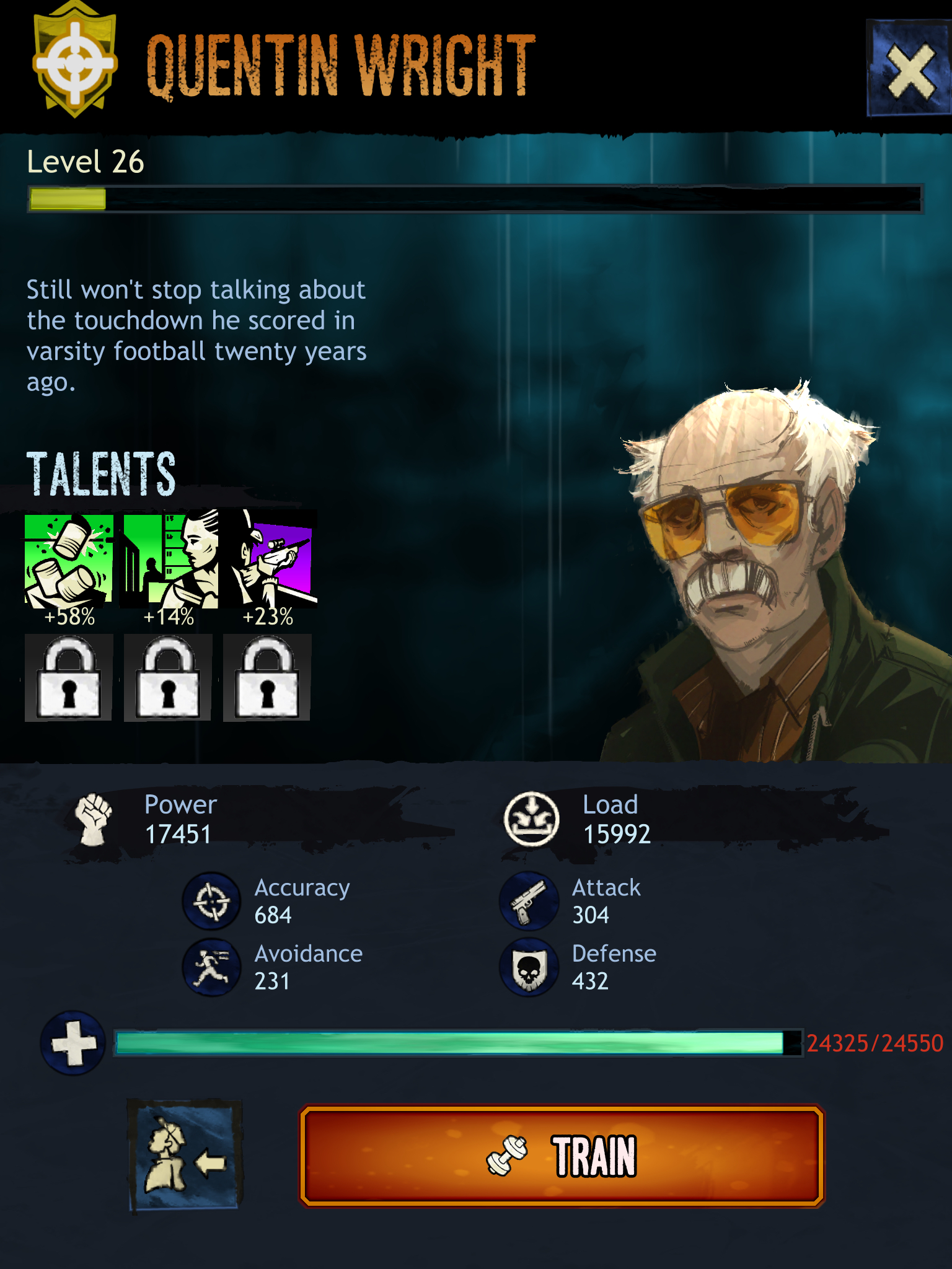 This survivor has one Epic and two Rare talents.