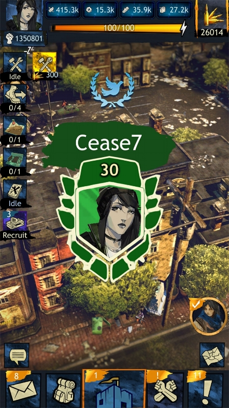 Player Cease7 has a Cease Fire currently in effect, as indicated by the blue dove and olive branches above her base icon.