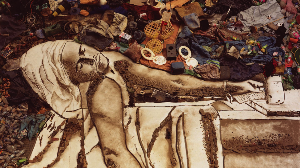 Photo of Vik Muniz's wasteland project that uses garbage in Brazil's largest landfill to make portraits