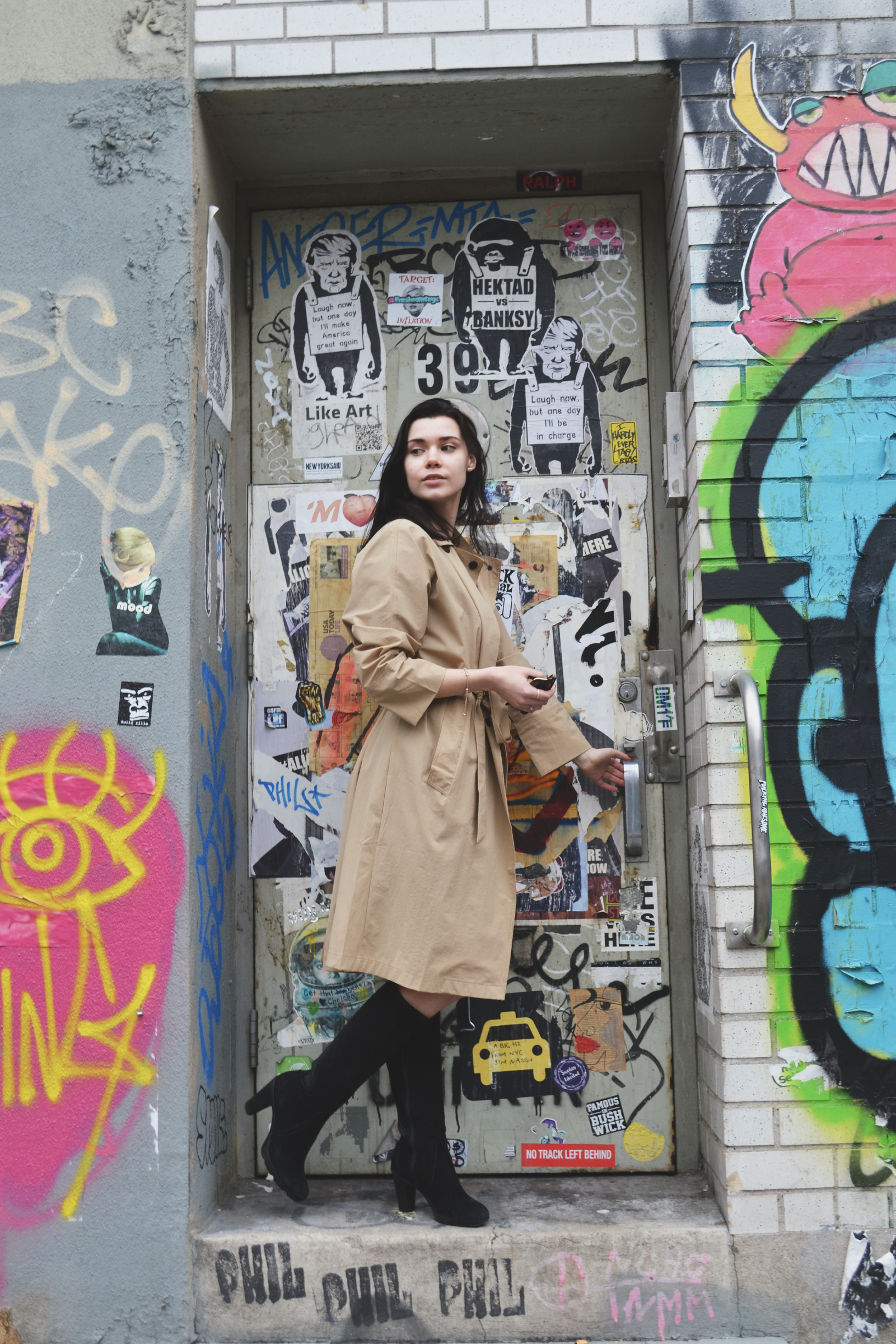 Outfit: Thrifted Kooples dress/ Nu New York trench/ Blondo boots