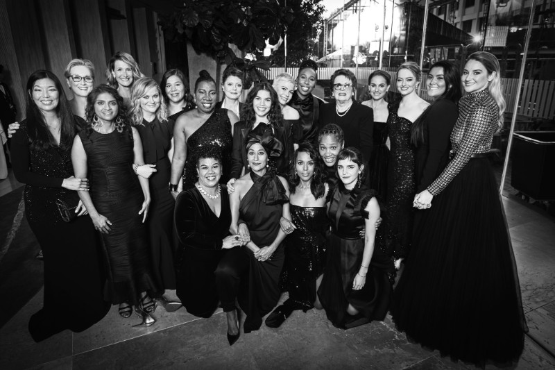 #timesup at Golden Globes, 2018  photo: http://www.bioneers.org/timesup-golden-globes/