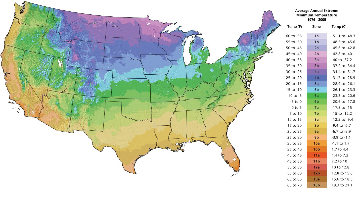 Click the map above to access the USDA's interactive hardiness zones map.