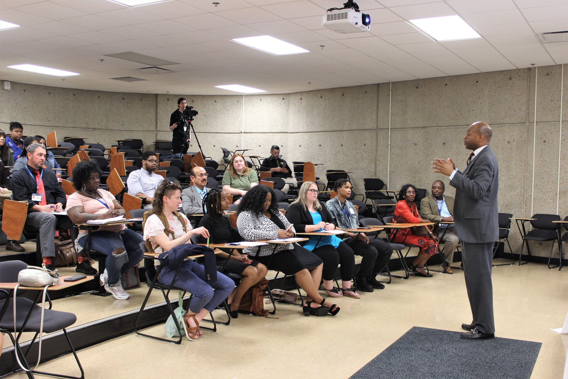 Representative Harold Love, Jr. speaks to students, faculty, staff, and alumni at Tennessee State University for the Unfair & Underfunded event on April 16, 2019.